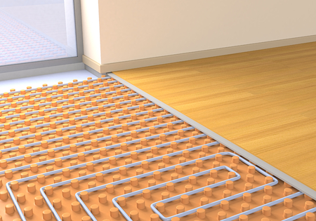 heat home: one room with a floor heating system (3d render)