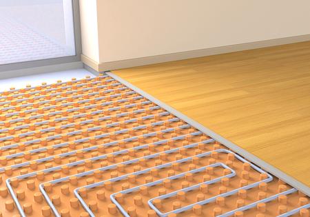 una stanza con un sistema di riscaldamento a pavimento (rendering 3d)