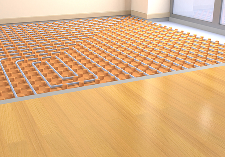 suelos: una habitación con un sistema de calefacción por suelo radiante (3d) Foto de archivo