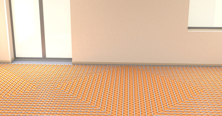 heated: one room with a floor heating system (3d render)