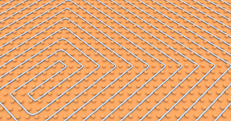 heated: close up view of a floor heating system (3d render)