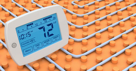 heated: close up view of a floor heating system with a programmable thermostat, 72 fahrenheit
