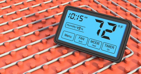 close up view of a floor heating system with a programmable thermostat, 72 fahrenheit photo
