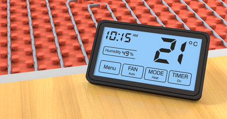 heated: close up view of a floor heating system with a programmable thermostat, celsius (3d render)