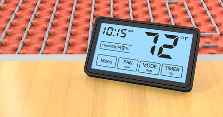 heated: close up view of a floor heating system with a programmable thermostat, fahrenheit (3d render)