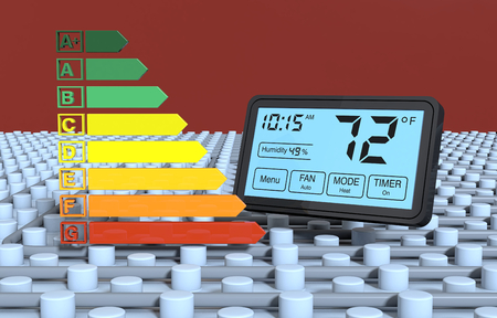 energy performance certificate: close up view of a floor heating system with a programmable thermostat and an energy efficiency scale (3d render) Stock Photo