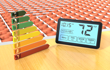 programmable: close up view of a floor heating system with a programmable thermostat and an energy efficiency scale (3d render) Stock Photo