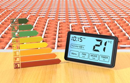 프로그래밍 가능한 온도 조절기와 에너지 효율 규모와 바닥 난방 시스템의 뷰를 닫습니다 (3d 렌더링)
