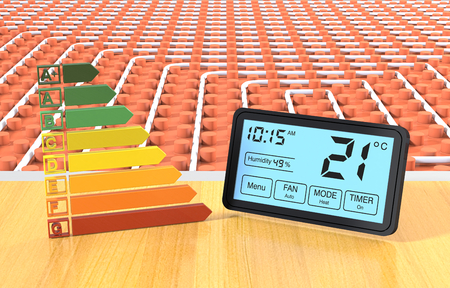 close up view of a floor heating system with a programmable thermostat and an energy efficiency scale (3d render) Stockfoto
