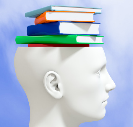 one head of a manikin with a stack of books inside it, concept of knowledge (3d render) photo