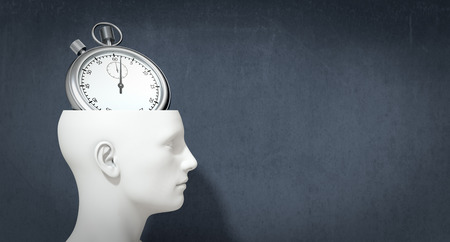 one head of a manikin with a stopwatch inside it, concept of time (3d render) photo