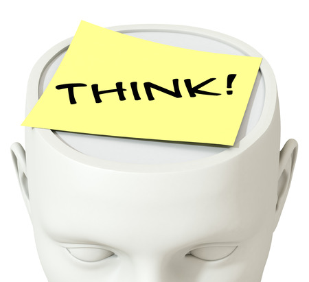 one sheet: one head of a manikin with a paper sheet and the word, think, concept of thought (3d render) Stock Photo
