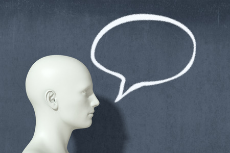 manikin: one head with speech bubble, concept of speaking (3d render)