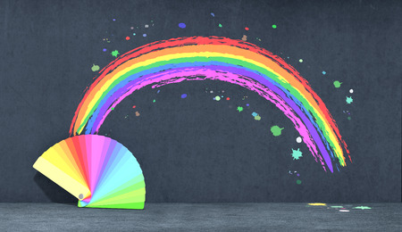 one color guide and a rainbow on dark background (3d render) photo