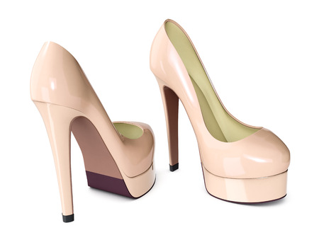 high heeled: high heeled shoes on white background (3d render)