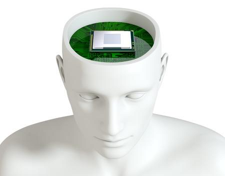 electronic circuit board: one head of a manikin with an electronic circuit board and a cpu inside it (3d render)