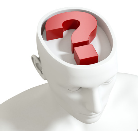 one head of a manikin with a question mark inside it, concept of questions and doubts (3d render) photo