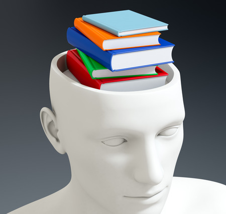 manikin: one head of a manikin with a stack of books inside it, concept of knowledge (3d render) Stock Photo