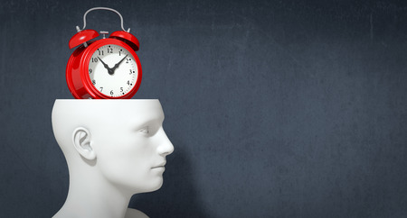 one head of a manikin with a vintage alarm clock inside it, concept of time (3d render) photo