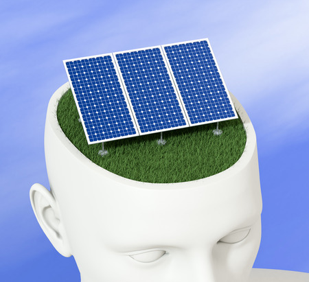 photovoltaic panel: one head of a manikin with a solar panel inside it, concept of clean energy (3d render)