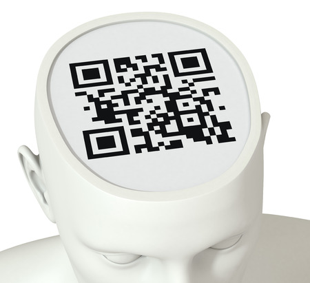 uniqueness: one head of a manikin with a code inside it, concept of identity and uniqueness (3d render) Stock Photo