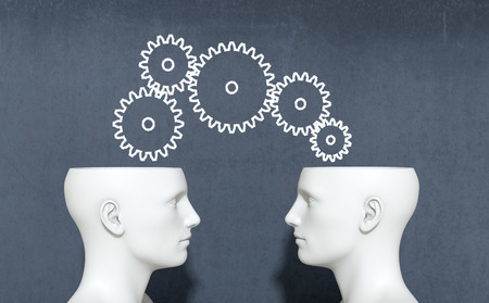 two heads with gears, concept of information sharing and collaboration (3d render) photo