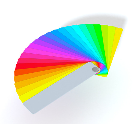 color guide: one color guide on white background (3d render)