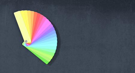 color swatch book: one color guide on dark background, space for custom text (3d render)