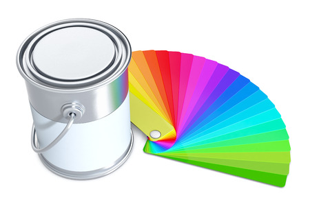 color guide: one color guide with a tin on white background (3d render)