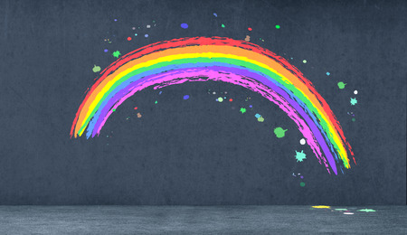 one rainbow on dark background (3d render) photo