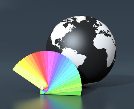 one color guide and a black and white world globe  (3d render) photo