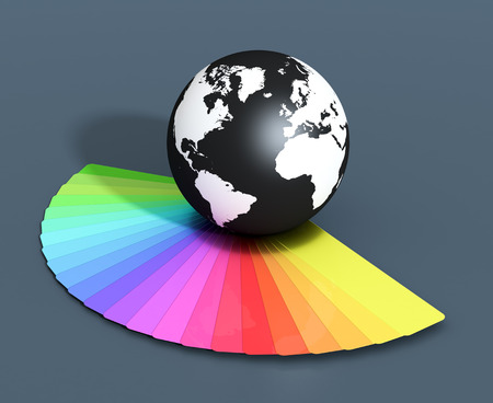 color swatch book: one color guide and a black and white world globe  (3d render) Stock Photo