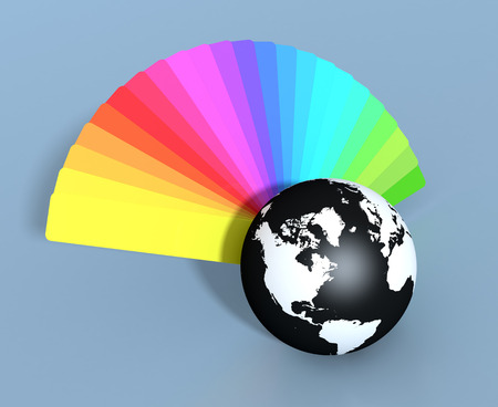 color guide: one color guide and a black and white world globe  (3d render) Stock Photo