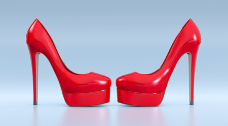 high heeled: high heeled shoes on blue background (3d render) Stock Photo