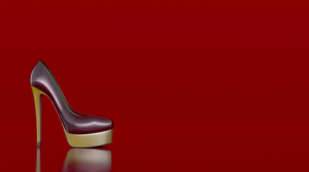 high heeled shoe: high heeled shoe on red background, space for custom text (3d render)