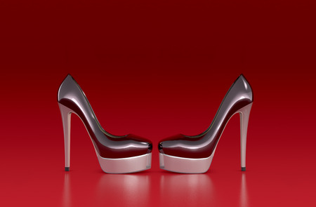 high heeled: high heeled shoes on red background (3d render)