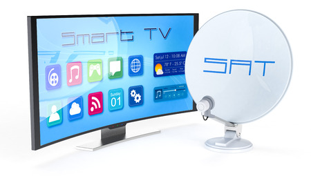 one satellite dish with a smart tv (3d render) photo