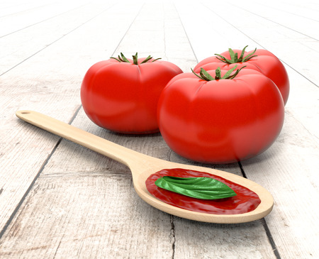 basil leaf: red tomatoes, a spoon with tomato sauce and basil leaves, on wooden background (3d render)