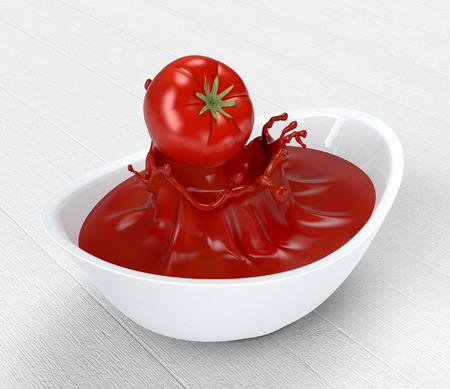 tomato sauce: one red tomato falling on a bowl with tomato sauce (3d render)
