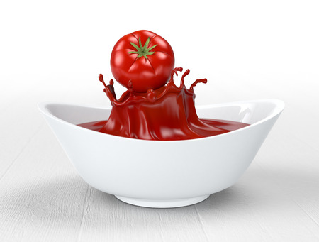 one red tomato falling on a bowl with tomato sauce (3d render) photo