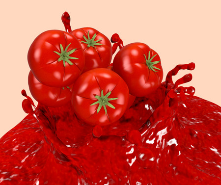tomato sauce: splash of tomato sauce with red tomatoes (3d render) Stock Photo