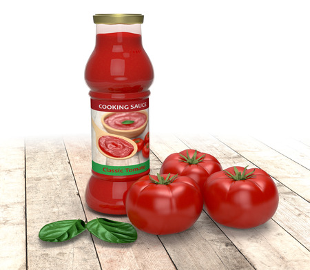 bottle of tomato sauce with tomatoes and basil leaves, on wooden background (3d render) photo