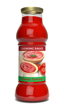 front view of a bottle of tomato sauce (3d render) photo