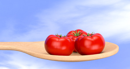 red tomatoes in a wood spoon with sky on background (3d render) photo