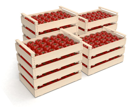 stacks of crates of tomato on white background (3d render) photo