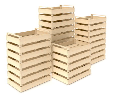 crates: stacks of wooden crates on white background (3d render)