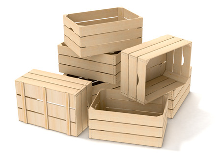 crates: one pile of wooden crates on white background (3d render) Stock Photo