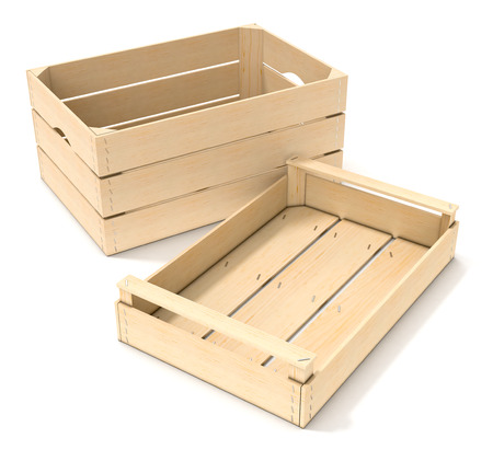 crates: two wooden crates on white background (3d render)