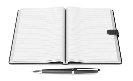 personal organizer: one open paper notebook with blank pages and a pen, on white background (3d render)