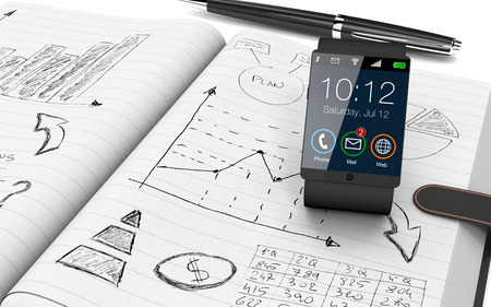 close up view of paper notebook with hand drawn doodles of a business plan, a smart watch and a pen on background (3d render) photo